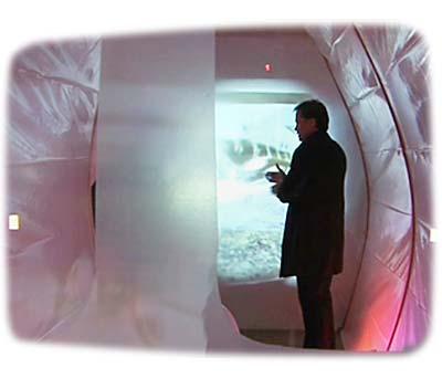 Rodney Swanstrom in his installation TransPod at Walsh Gallery, DiVA art fair New York 2006